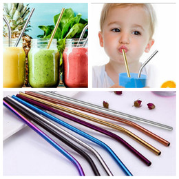 Wholesale Stainless Steel Straws mm Bend Straight Reusable Metal Rainbow Gold Sliver Drinking Straws Bar Party Drink Straws OOA5235