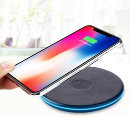 Discount qi standard wireless charger charging - New QI Wireless Charger Charging Base Leather Pattern Ultra-thin Disc Anti-slip Smart Standard wireless chargers For iph
