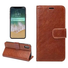 wholesale cell phone cases free shipping Australia - For iPhone X Vintage Retro Flip Stand Wallet Leather Case Wallet cards leather cell phone case business style TPU phone shell free shipping