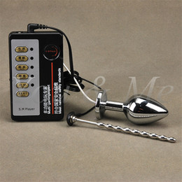 Novelties for sex online shopping - Anal Plug Penis Pulg Electric Shock Host and Cable electro shock electro stimulation novelty sex toys for men TENS adult game S1022