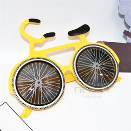 SunglaSSeS for day night online shopping - Yellow Bike Shape Funny Glasses Creative Special Design Sunglasses For Party Carnival Night Club Masquerade Cheer Up Mask Props New sf Z