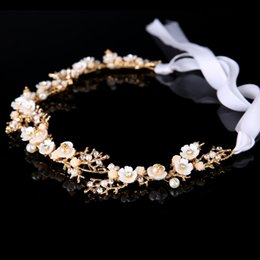 Wholesale Pearls Crystal Bridal Headpiece Wedding Hair bands Bridal Tiaras Headband Wedding Headdress Women Girls Hair Accessories Flower Bride Tiara