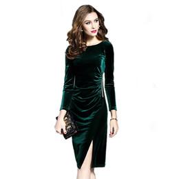 Spring Women Velvet UK - Women Green Velvet Dresses Plus Size Elegant 2019 Spring Autumn Slimming Fashion Casual Dress Party Dress Vestidos Femininos