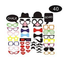 wedding photo set UK - 40pcs set Photo Booth Props Photography mask paper Card Wedding birthday baby shower Party Decoration event gift big nose