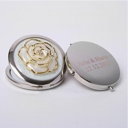 bridal shower party favours NZ - 50Pcs Personalized Bridal Shower Gifts For Guests Rose Customized Make Up Mirror Wedding Favor With Bride Groom Name & Date,Wedding Favour