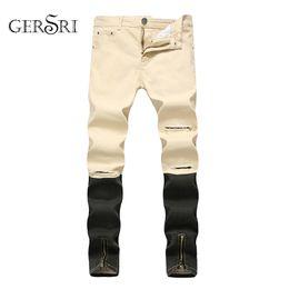 brown trousers men 2019 - Gersri Straight Jeans Men Fashion Denim Pants Patchwork Streetwear Mens Ripped Zipper Jeans Plus Size Male Hole Trousers