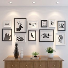 Wall Print Photo Australia - Perfect Gallery 11 Piece Black+White Photo Frame Wall Gallery Kit Includes: Frames, Decorative Art Prints ,Hanging Wall Template