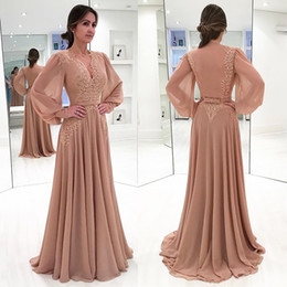 7ed6ef0a8f43 2018 Unique Style Mother of Bride Dresses Long Sleeve Deep-V Neck with Lace Appliques  A-Line Long Formal Khaki Evening Gowns Custom