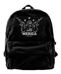 Cute baCkpaCks for College women online shopping - Merica Gorilla Canvas Shoulder Backpack Cute Backpack For Men Women Teens College Travel Daypack Black