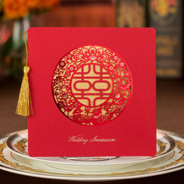 Bridal Invitation Cards Canada - Chinese Traditional Laser Cut Wedding Party Invitation Cards Red Xi Personalized Printing Bridal Shower Invitations 50pcs lot