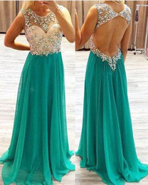 rhinestone chiffon prom dress NZ - Custom Made Beaded Rhinestone Prom Dresses Sexy Open Back Maid of Honor Dress Long Chiffon A Line Evening Party Gowns