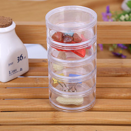 Chinese  5x5x12.7cm Transparent Plastic Cosmetic Storage Containers Minerals Display Clear Makeup Stackable Small Jar 5 layer LZ1364 manufacturers