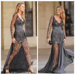 zuhair murad maternity dresses Australia - 2018 Grey Long Sleeves Lace Evening Dresses Sexy Zuhair Murad Grey Prom Dresses With Chiffon Sweep Train Gossip Girls Formal Evening Gowns