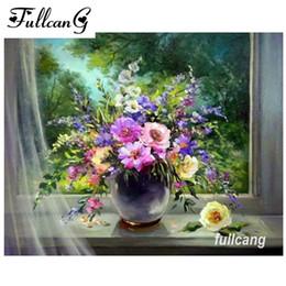 Paintings Vases Australia - FULLCANG diamond mosaic 5d diamond embroidery colorful flowers vase full square diamond painting cross stitch needlework D278