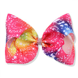 baby girl barrettes UK - New Arrival Baby Girls Rainbow Gradual Color Hair Bow Big Flora Printed Hairpin Kids lines Rhinestone Hair Clip Grosgrain Whorl Hairpin H66