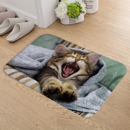 printed pet pads 2019 - FOKUSENT Indoor Door Mat Flannel Soft Pets Cat and Dog Floor Mats Foot Pad Toilet Tapete Rugs for Living Room cheap prin
