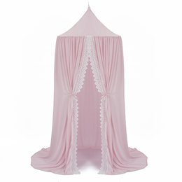 Wholesale Summer Chiffon Bed Curtain White Lace Dome Canopy Mosquito Net Three Color Door Type Bracket Steel Wire Fabric Cozy Translucent Curtain
