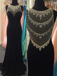 $enCountryForm.capitalKeyWord NZ - Scoop 2019 Sheer Neck Mermaid Evening Dresses Sweep Train Long Formal Black Chiffon Prom Dresses See Through Rhinestones Mother Dress Brides