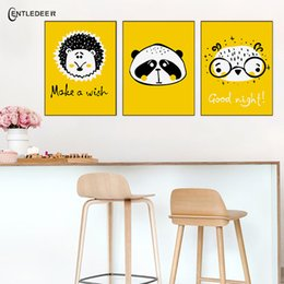 animal picture frames 2019 - Yellow Background Wall Art Modern Canvas Painting Picture Animals Posters And Prints Living Room Home Decoration Wall No