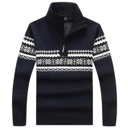 Discount men flower clothes - Men's Warm Thick Flower pattern Sweater 1 4 Zip Pullover Velvet Knitwear Clothes Autumn &Winter Men's Sweaters Casual Cl
