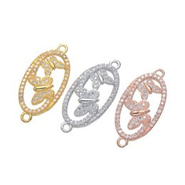 Micro Pave Connectors Australia - Wholesale Handmade DIY Jewelry Accessories 2018 New Fashion Zircon Necklace Bracelet Micro Pave Butterfly Loop Connectors Charms Finding Fit