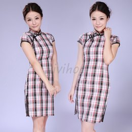 shanghai cotton 2019 - Wholesale 2014 Classic National Trend Chinese Old Shanghai Style Cotton Women Cheongsam Vintage Plaid QiPao Sexy Party D