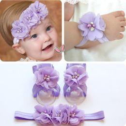 39ef5ec86be 2018 Newest Foot Flower Barefoot Sandals + Headband Set for Baby Infants  Girls Headwear Flower Hair Accessories