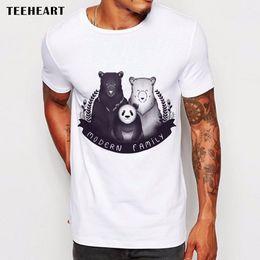 3998b03c5 Bears Animals Black and White Panda Modern family Funny Joke Men T Shirt Tee