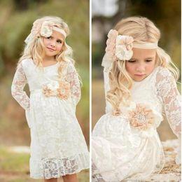Discount birthday t shirts for kids - Cheap Girls Summer Boho Flower Girl Dresses Long Sleeves Princess Kids Dresses Lace Flower Girl Dresses for Weddings MC0