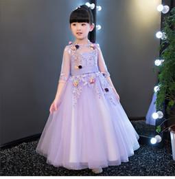 Violet prom dresses online shopping - Glizt Appliques Violet Lace Girls Wedding Dress flower Girl Dress Bead Half Sleeve Girls Prom Formal Dress First Communion Gown