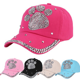 Candy baseball Caps online shopping - Candy Colors Baseball Cap Outdoor Casual Sun Hat With Rhinestone Bear Paw Pattern Casquette For Women Children kh BB