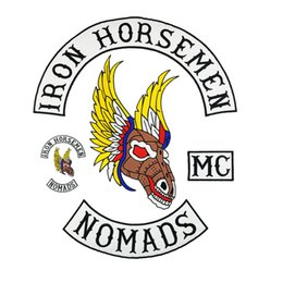 Bikers Back Patches Australia - IRON HORSEMEN Motorcycle club Patch MC Embroidered Full Back Large Pattern For Rocker Biker Vest Patches for clothing Free Shipping