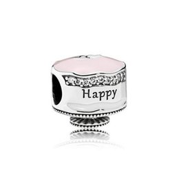 f8ca327cb Authentic 925 Sterling Silver Beads Happy Birthday Cake Charm Mixed  Enamel&Clear CZ Fits European Pandora Style Jewelry Bracelets & Necklace