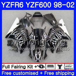 Yamaha Yzf r6 99 online shopping - Body For YAMAHA YZF R6 Silver flames hot YZF600 YZFR6 HM YZF YZF R600 YZF R6 Fairings