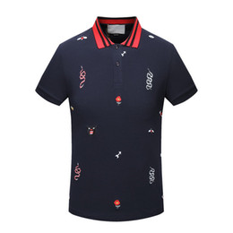 Chinese  High New 2018 Men High Embroidered snake leopard bee flowers Polo Shirts Shirt Hip Hop Skateboard Cotton Polos Top M-3XL 16511 manufacturers