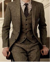 Custom Tweed Suit NZ - 2018 Latest Coat Pant Designs Brown Tweed Formal Custom Men Suits Winter 3 Pieces Slim Fit Tuxedo Masculino Jacket+Vest+Pants