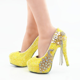 2018 Handmade beautiful Yellow AB crystal High Heels Wedding Shoes Phoenix rhinestone  Bridal High Heels elegant Party Prom wedding Shoes d5cc81951b92