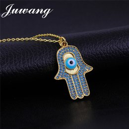 Discount hand blue eye pendant - JUWANG Dropshipping Necklace Blue Turkish Hamsa Hand Evil Eye Gold Silver Rose Gold Color Zircon Inlay Pendant Necklace