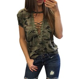 $enCountryForm.capitalKeyWord Australia - Hot New 2018 Summer Lace Up Camouflage Blouse Tops Women Deep V Neck Sexy Blouses Shirt Causal Female Slim Fitness Tops Tees