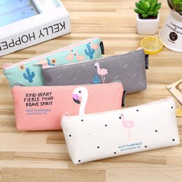 $enCountryForm.capitalKeyWord Australia - Inverted trapezoidal flamingos Pencil Bag canvas Pencil Case Pen Bag Kawaii Stationery Office School Supplies Korean Stationery