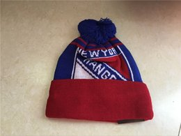 Discount ice caps beanies - Hotsale Top Quality New Rangers Team Logo Sport Ice Hockey Rangers Vintage Knitted Beanies Women's Winter Warm Skul