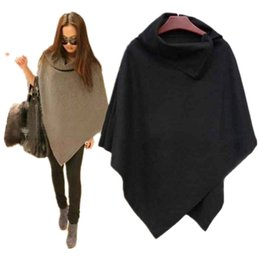 $enCountryForm.capitalKeyWord UK - 2017 New Women Loose Batwing Sleeve Long Poncho Cape Irregular Hem Solid Woolen Plus Size Coat Shawl L18100706
