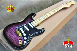 China Top Quality cheap price GYST-1030 transparent purple tiger stripes gold hardware ST Electric Guitar, Be Customized, Free shipping suppliers