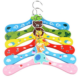 Free Style Clothes NZ - Free shipping 300pcs New Cute Cartoon Animals Wooden Kids Clothes Hanger Baby Children Hanger 6 Styles SN1059