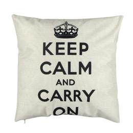 Discount keep calm pillows - Letter Carry On and Keep Calm Printing Pillow Cover Case Mat Cotton Linen Throw Square Pillowcases for Home Room Decorat