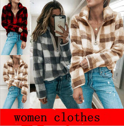Wholesale sherpa pullover for sale – custom Women Clothe Women Fleece Sherpa Sweater Plaid Sweatshirt Casual Pullover Fashion Lattice Tops Maternity Clothing Colors YL835