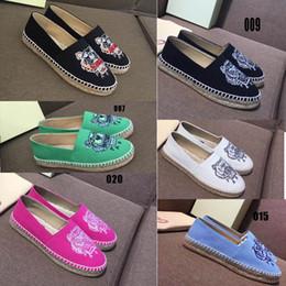2018 Nueva venta caliente Tigres Zapatos cáñamo cuerda Zapatos de pescador Bordado Slip-On perezoso zapatos 21 colores con caja 34-40 envío gratis en venta