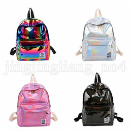 Discount plain white backpacks - Women Fashion Colorful Laser Backpack Rainbow Colors School Bag PU Girls Handbag Big Capicity HOT NNA265