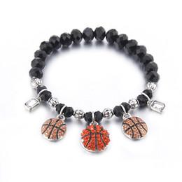 Discount volleyball bracelets - Lureme Women's Sports Jewelry Black Beaded Charms bracelets Volleyball Basketball Soccer Football Bracelet Stretch (bl00