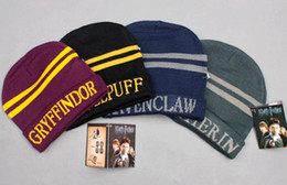 Harry Potter Escola Grifinória Slytherin Ravenclaw Hufflepuff Chapéu Crânio Cap Gorro Potter Fãs Cosplay Presente de Natal Por Atacado venda por atacado